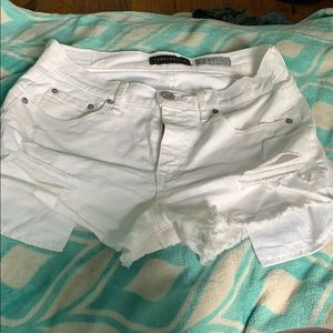 Distressed White High Waisted Jean Shorts
